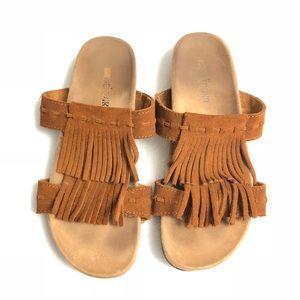 Minnetonka 'Daisy' Fringe Slide Sandals Suede Boho
